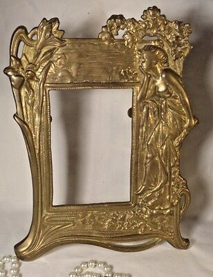 Vintage Brass Repousse Art Nouveau Photo-Picture Frame Hollywood Lillys -Flowers