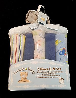 SNUGLY BABY Boys Flannel Receiving Blankets 6 piece Gift Set New