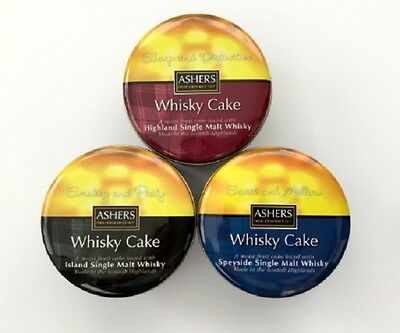 Ashers/Asher's/Award/Winning/3/Whisky/Cakes/Nairn/Tins/Moray Firth/New