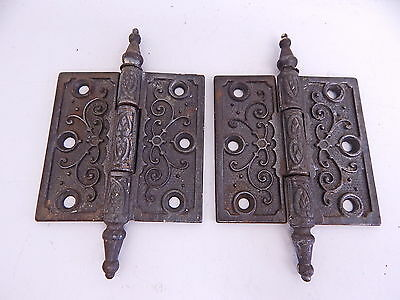 Antique 1877 Pair of Victorian East Lake Cast Iron Ornate Door Hinges Hardware