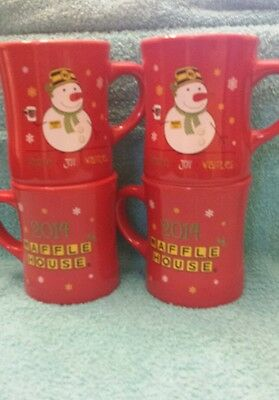 Waffle House Coffee Mugs Set Of Four Rare 2014 Christmas Brand New Free Shipping