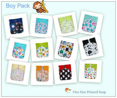 KaWaii Baby One Size Printed Cloth Diaper+2 Inserts Hot Air Balloon