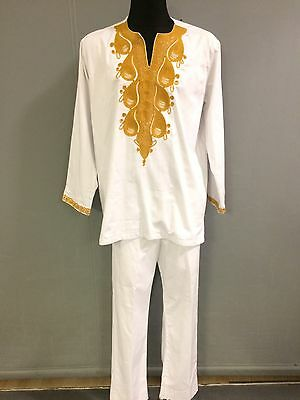 Men White And Gold Embroidery Suit