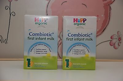 2 -BOXES-HiPP-UK-Organic-Combiotic-First-Infant-Milk-Stage-1-800g EXP-3/2020