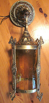 Antique Victorian Chandelier Goth Lamp Hammered Copper Amber Glass Cylinder