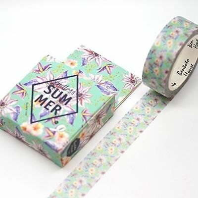 Washi Tape  - Endless Summer Mint Pastel Purple Yellow Floral Flower - 15mm x 7m