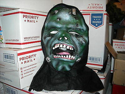 Halloween Frankensteins child mask with hood big teeth Monster scary green