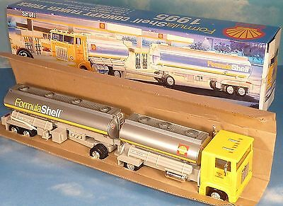 1995 SHELL TOY TANKER TRUCK w/ ENGINE START-UP, LIGHTS, HORN, BACKUP ALERT * NIB