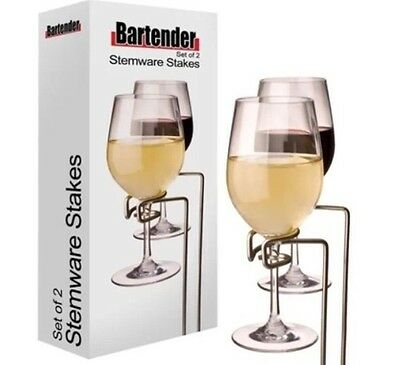 NEW WINE GLASS STAKES HOLDER Hold Rack Stand Stake Stemware - Pack of 2