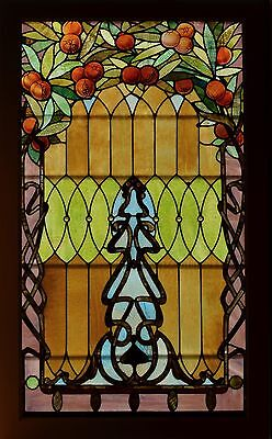 Antique American Stained & Jeweled Glass Landing Window w/ Pomegrantes
