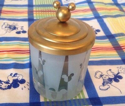 """Mickey Mouse Jar Candle W/ Gold Lid Frosted Etched Glass Disney 4.5"""" Tall"""