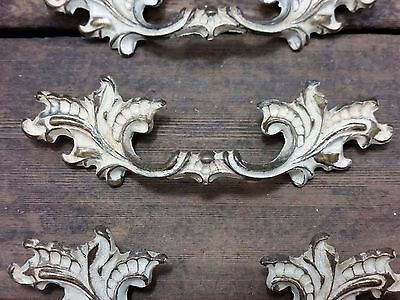"ONE Vtg SHABBY Ornate Rustic Brass Pull Handle Drawer Chest 2 1/2"" CC"