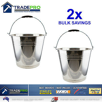 2x Stainless Steel Bucket with Handle 12Ltr Heavy Duty Quality 12L Marine Pail