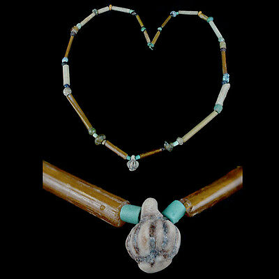 "A Holyland glass and tubular ""gold-glass"" bead necklace. x8663"