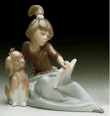 Lladro 5475 Porcelain A Lesson Shared Girl with Dog Figure Retired Immaculate