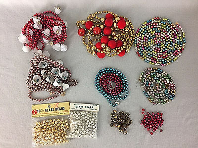 Vintage Mercury Glass Bead Christmas Garland Lot Assorted Plus Loose Beads