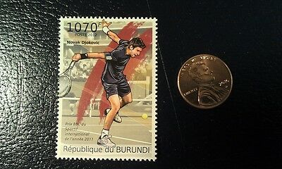 Novak Djokovic TENNIS 1070F 2012 Republique De Burundi Perforated Stamp WOW