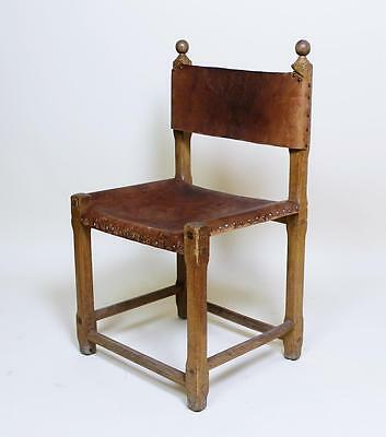 1 Of 24  Vintage Retro 1970' Hungarian Craftsman Oak And Leather Chairs