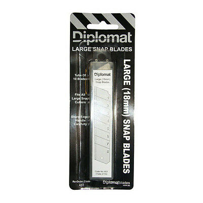 Diplomat A51 18mm Large Snap Blades 8 Serrated Carbon Steel Tube Of 10