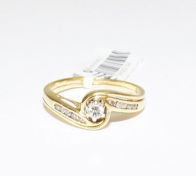 Ladies 9k Yellow Gold Diamond 2x Ring Bridal Set Engagement 3.4gm Sz. P #763703