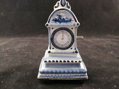 Antique Blue and White Delft Pottery Miniature Grandfather Clock Music Box