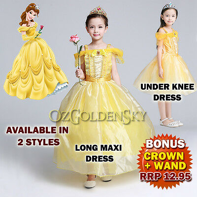 Cosplay Girls Princess Belle Beauty and Beast Costumes Dress Up Tutu Size 3-10Y