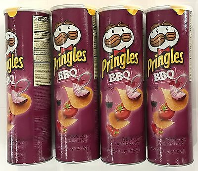 908723 4 x 169g CONTAINERS OF PRINGLES - BBQ FLAVORED POTATO CRISPS! - U.S.A.