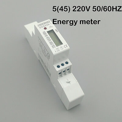5(45)A 230V50/60HZ Single phase Din rail KWH Watt hour din-rail energy meter LCD