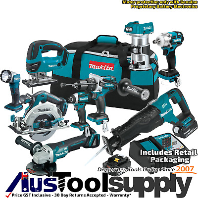 Makita 18V 5Ah Lithium Ion Cordless 9 Tool Combo Kit Dvj180 Dhr202 2017