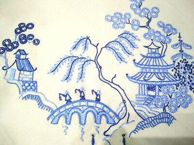 Gorgeous Blue Willow Pattern Large Hand Embroidered Cushion Cover - 2 Available