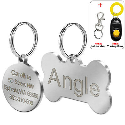 Engraved Personalised Dog Tags Round Bone Stainless Steel Pet Tag Engraving Free