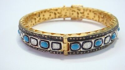 2.05Ct. Rosecut Diamond & Turquoise Victorian Inspired  Bangle With 92.5% Silver