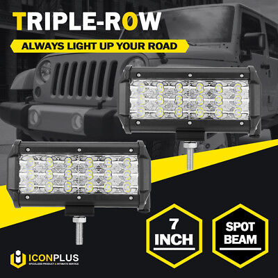 2x 7inch 252W TRI ROW LED Work Light Bar Spot Driving Offroad Fog Lamp Tail 6/9""