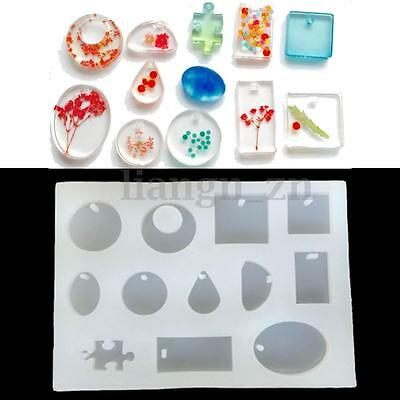 12 Patterns Silicone Mold Mould For DIY Resin Pendant Jewelry Making Craft Tool