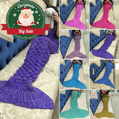 New Mermaid Tail Handmade Crocheted Cocoon Sofa Blankets Beach Quilt Rug Knit