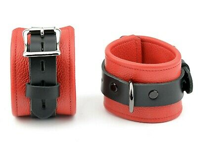 WRIST CUFFS PREMIUM Handcrafted Leather Red and Black Heavy Duty CF3WBlkRdStRd
