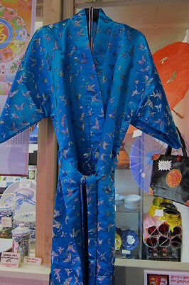 Heavy Unisex Men Women Chinese Kimono Butterfly Dressing Gown Robe Turquoise
