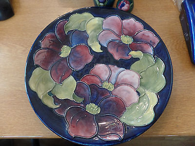 Moorcroft Pottery Large Plate / Charger - Clematis Pattern 1950s Blue Background