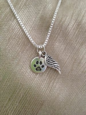 Pet Dog/Cat Memorial Necklace - Paw Print, Angel Wing - Sympathy Gift- New