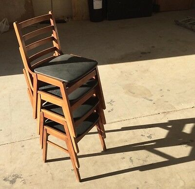 VINTAGE WOODEN STACKING CHAIRS Retro Mid Century (E London - Can Deliver)