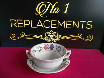 Adams Old Colonial Twin Handled Soup Cup Coup Bowl and Saucer 8 Available