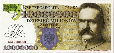 POLAND 10 000 000 ZLOTYCH  Project collector note Jozef Pilsudski UNC