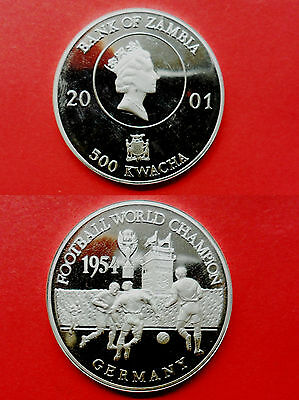 zambia 500 kwacha 2001 world cup germany silver ag plata pp proof