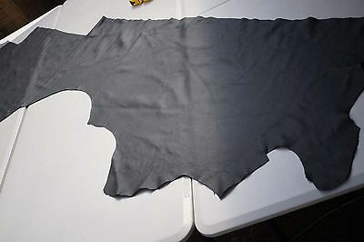 Dark Grey Cowhide Upholstery Leather Piece 200 x 40cm Soft Flexible