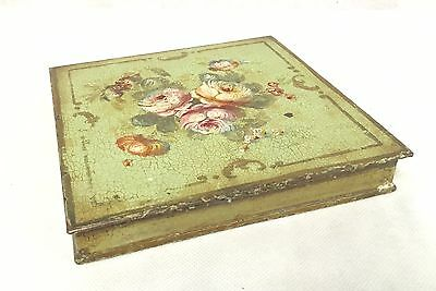 Antique French Toleware Jewellery Box , Hand Painted