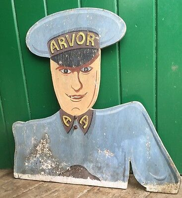 Vintage French Cinema Advertising Sign ~ Arvor Cinema ~ Great Patina