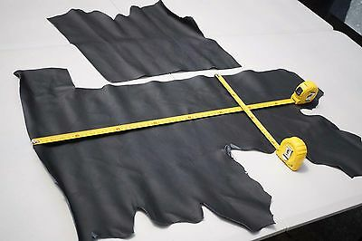 x2 Dark Grey Cowhide Upholstery Leather Pieces/Remnants Soft Flexible