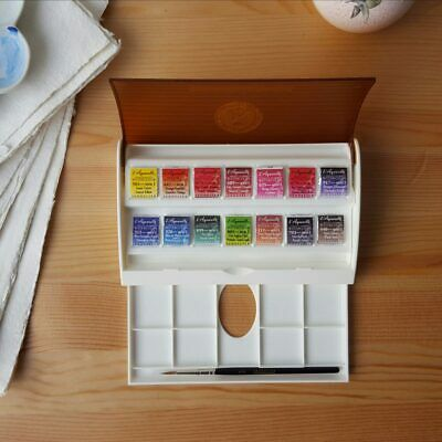 Sennelier 14 Half Pan French Artists Watercolour Paint Set + Travel Box
