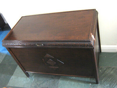 A Superb Huge Art Deco Style Wooden Chest, Lovely Detailing, Good Condition