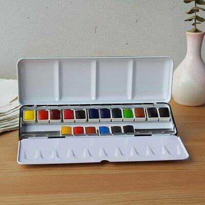 Sennelier 18 Half Pan French Artists Watercolour Paint Set + Classic Metal Box
